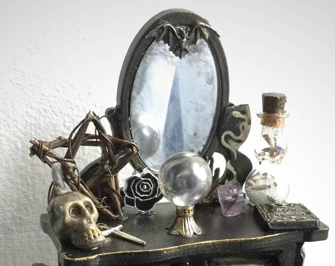 Miniature Witch Dressing Table, Victorian Gothic, Spooky Chic, Curiosities, Halloween Dollhouse diorama