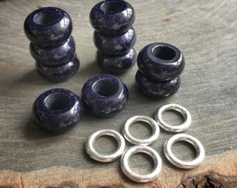 Blue Goldstone / Blue Sandstone dread beads, 6mm hole, Blue Sandstone dread bead set * FOR SMALL LOCS *