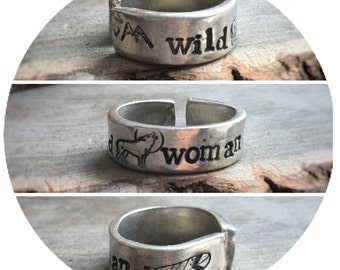 Wild Woman Wolf stamped pewter ring, stamped jewelry, Mountains and feather stamping