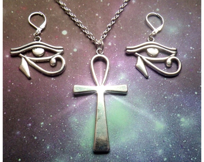Ankh and Eye of Horus necklace and earrings, Egyptian jewelry set