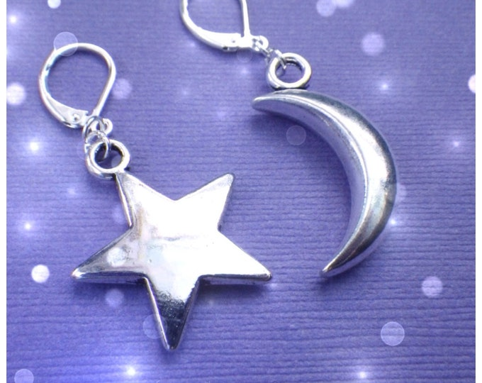 Moon and Star earrings, mismatched, your choice of ear hooks, sold per pair (leave qty as 1)