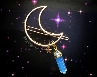 GOLD Crystal Crescent Moon hair clip, crescent hair barrette with gemstone dangle (original design)