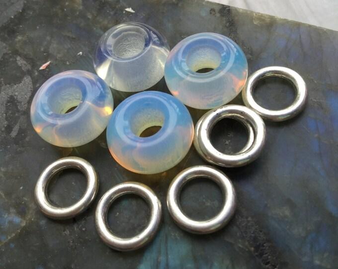 Opalite Glass dread beads, 6mm hole, dreadlocks, loc beads, hair beads, braids