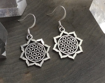 Sacred Geometry Flower of Life earrings, sold per pair (leave qty as 1)