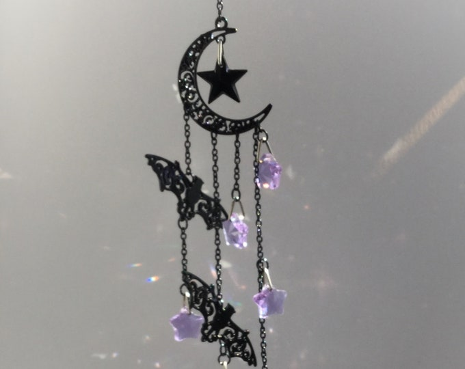 Bat Crystal Sun catcher with Purple stars, Halloween Suncatcher, prism mobile, available in Black, Silver or Gold