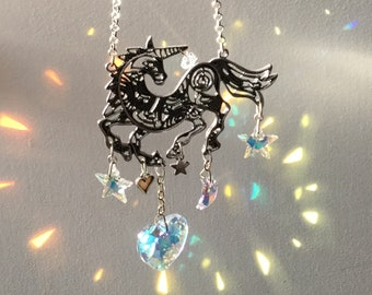 Unicorn Suncatcher with Swarovski Crystal heart, stars and moon rainbow maker prism