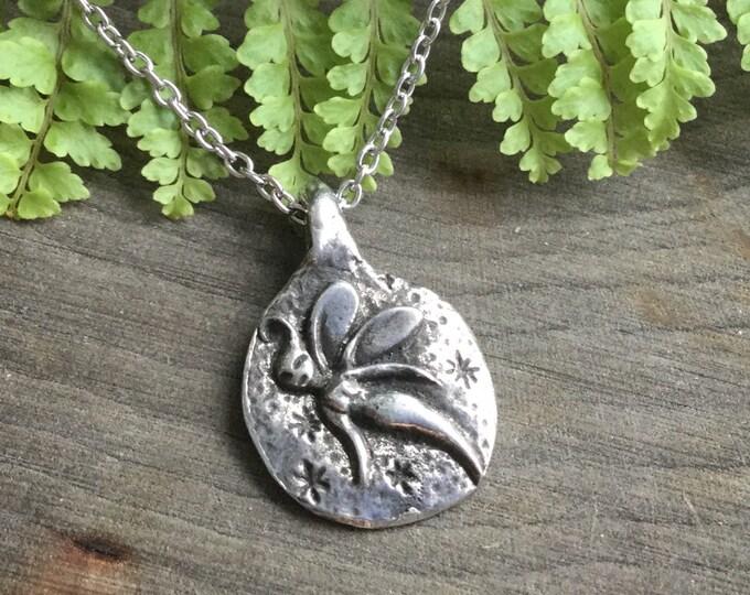 SALE Fairy Necklace, Firefly Spryte double sided Joy necklace