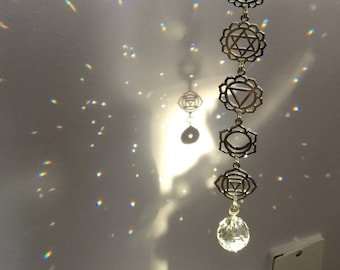 "Chakra Crystal Suncatcher window hanger, 13"" Om Rainbow maker, your choice of silver or gold, meditation room, decoration"