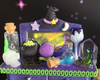 Miniature Dollhouse Table with potions, glow in the dark skull