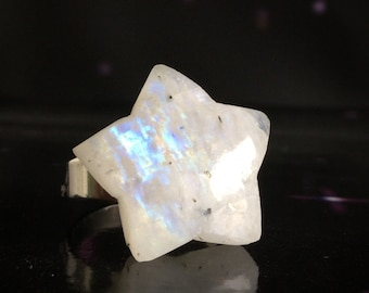 Rainbow Moonstone ring, Star shaped Moonstone gemstone ring