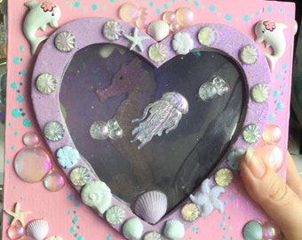 SALE Pink Trinket box with heart shaped window, embellished with Seahorse, Dolphin, Jellyfish