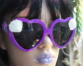 SALE Heart shaped Mermaid Sunglasses, with seashells and iridescent bubbles