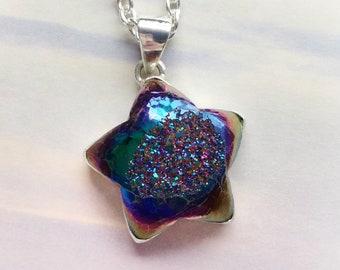 "Titanium Druzy Star necklace, Rainbow Aura, 22"" long necklace"