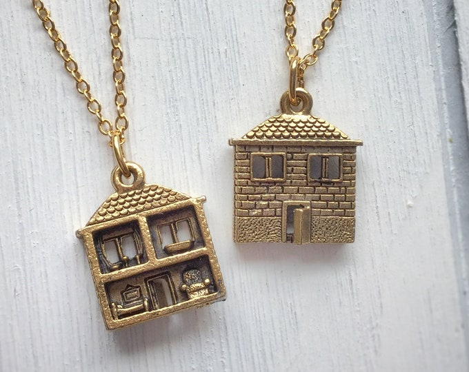 Doll House necklace, double sided, miniature, super detailed dollhouse