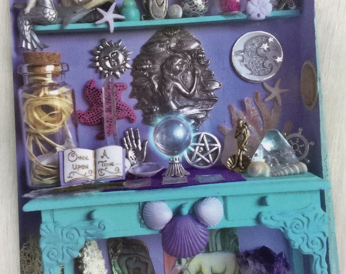 """Water Witches Mermaid Altar, Miniature Curio Cabinet 5x7"""" ART PRINT"""