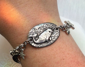 Narwhal Magic Charm Bracelet with whimsical heart and star charms