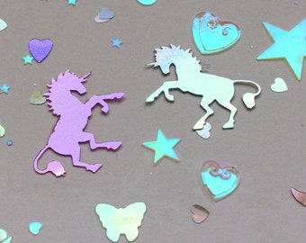 Unicorn Hearts and Stars Confetti, Iridescent pearlescent mix, Pink and Silver, 20g bag of PVC plastic for crafts