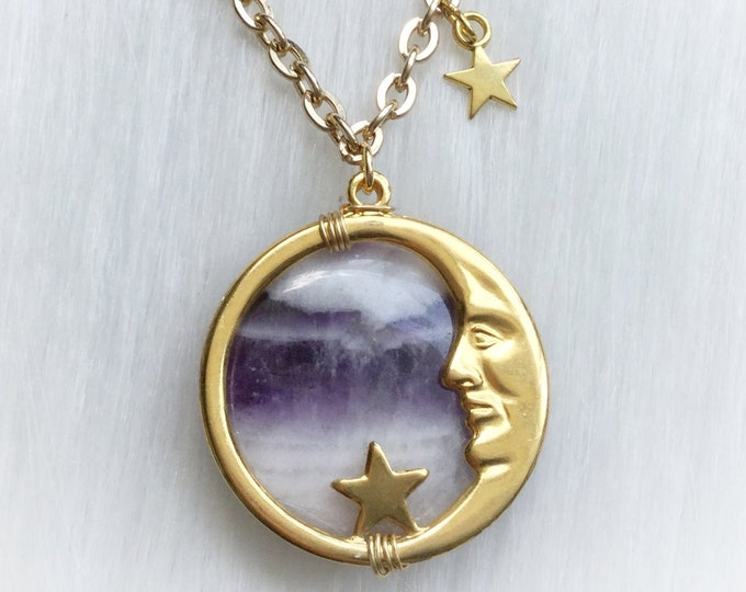 Amethyst Moon face necklace, Vintage Man in the Moon pendant