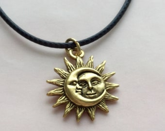 Sun and Moon Choker necklace, silver or gold