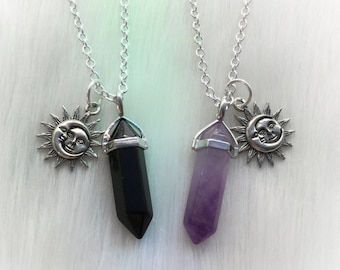 SILVER Sun Moon Friendship Crystal necklaces, YOUR CHOICE of gemstone, best friends necklace set