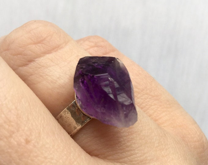 Amethyst Crystal Ring, Adjustable Sterling Silver band
