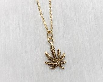 Dainty Cannabis Leaf necklace, Pot leaf, Weed
