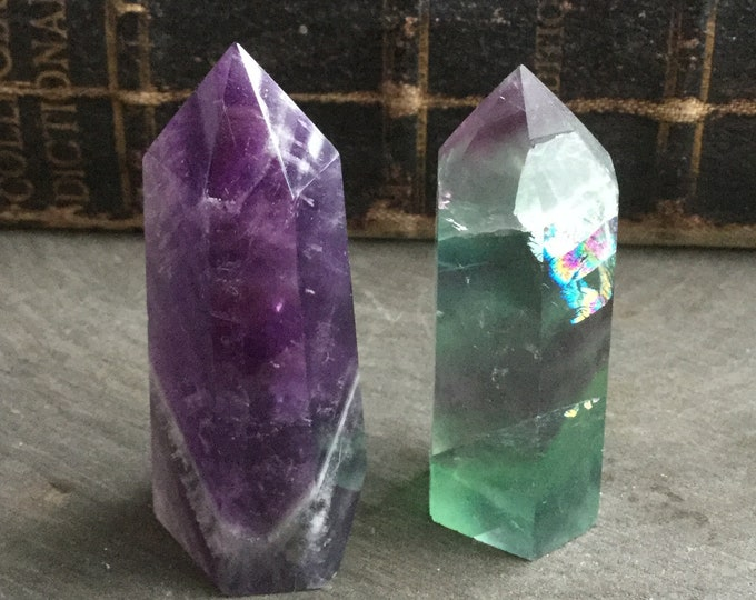 "Amethyst and Green Purple Fluorite obelisk crystal tower points, 2"" Gemstone SET OF TWO, obelisk, tower, altar, reiki wiccan"