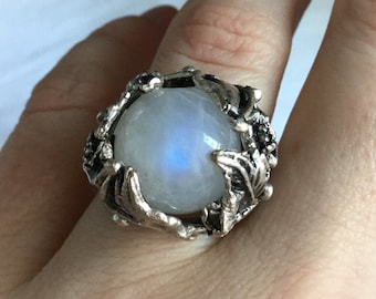 Rainbow Moonstone Crystal ball ring, ornate large adjustable ring, witches ball