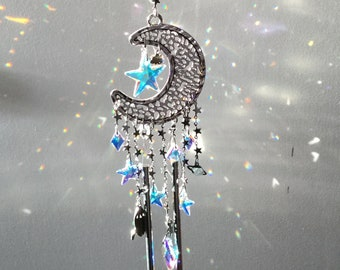 "Moon and Star Crystal Suncatcher Windchimes, with Saturn and Rocket ship, 15"" long"