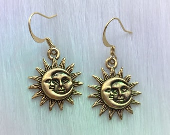Sun and Moon earrings, in silver or gold, sold per pair (leave QTY as 1)