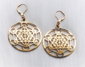 Sacred Geometry earrings, Metatrons Cube, The Flower of Life, sold per pair (leave listing QTY as 1)