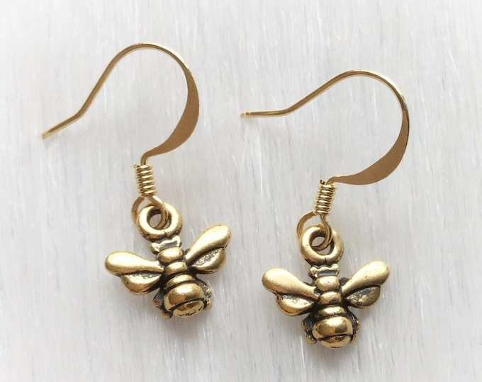 Gold Honey Bee earrings, on your choice of ear hooks, sold per pair (leave qty as 1)