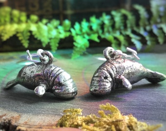 Manatee earrings, Animal totem, Florida Manatee, Sold per pair (leave Qty as 1)