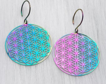 Rainbow Flower of Life earrings, super thin and lightweight, sold per pair (leave qty as 1)