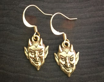 Devil head earrings, Pan, clip on or piercing, available in silver and gold