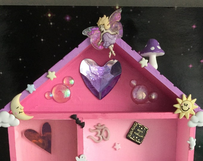 Miniature Witchy Trinket shelf, Pastel goth house shaped wall shelf, for collectables