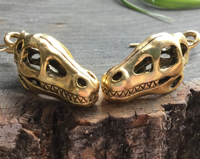 Dinosaur Skull fossil earrings, in silver or gold, cute gift idea, sold per pair (leave QTY as 1)