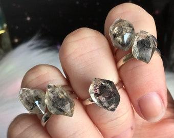 Herkimer Diamond Crystal Midi Ring, Double terminated Quartz crystal, Adjustable small pinky ring