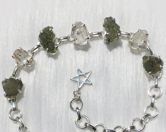 Genuine Moldavite and Herkimer Diamond gemstone bracelet, sterling silver