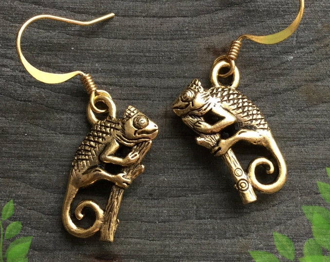 Chameleon earrings in silver or gold tone, sold per pair (leave QTY as 1 to receive one pair)