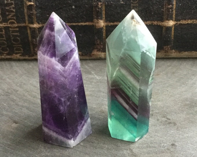 "Amethyst and Striped Fluorite obelisk crystal tower points, 2"" Gemstone SET OF TWO, obelisk, tower, altar, reiki wiccan"