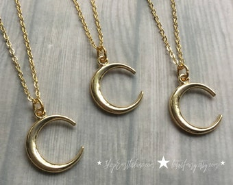 "Gold Moon necklace on 18"" dainty chain"