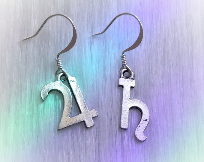 Planet Symbol Glyph Earrings, you choose your pair! Jupiter, Saturn, Neptune, Mars, Mercury Uranus, Pluto, Venus,
