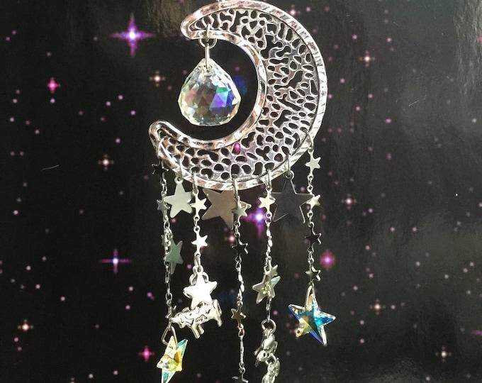 UFO and Cow Suncatcher Rainbow maker, Moon with Swarovski Star crystals