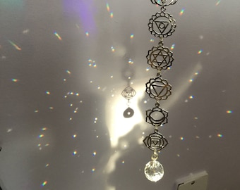 Chakra Crystal Suncatcher window hanger, Om Rainbow maker, your choice of silver or gold, meditation room, decoration