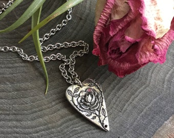 Rose and Thorn Planchette Quote necklace