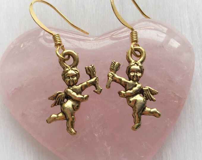 Cupid Cherub Earrings, Valentines Day, your choice of hooks or clip ons, (leave QTY as 1 to receive one pair)