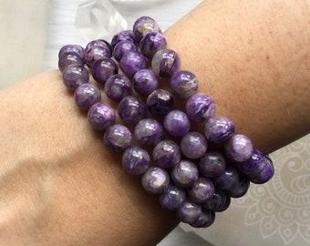 Charoite stretch beaded bracelet
