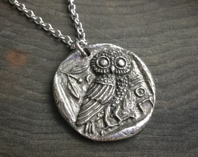Owl necklace, medallion coin pendant on long chain