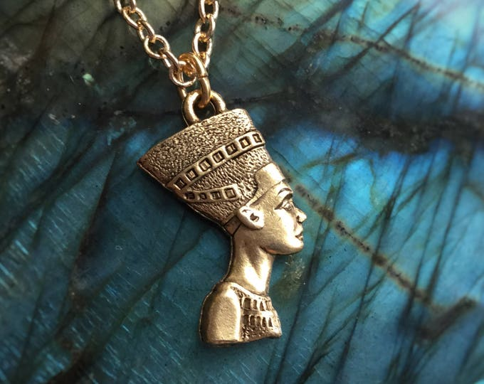 """Nefertiti Egyptian Queen necklace in gold or silver, 1"""" tall pendant"""